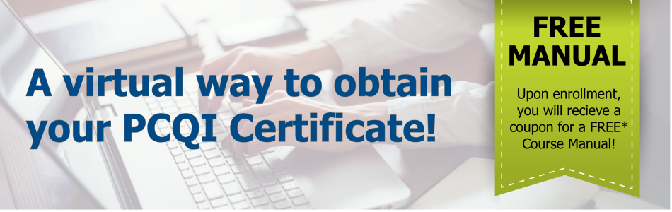 Banner: an easier way to obtain your PCQI certificate. $100 dollars off for the first 10 participants. Use code '100off' at checkout.